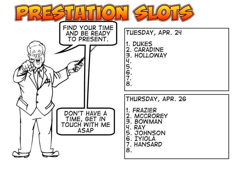 Final Presentations 2018 Slots